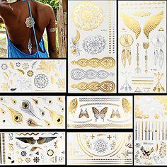 Tetovací nálepky Řada šperků Zvířecí řada Květinová řada Totemová řada OstatníNon Toxic Vzor Halloween Glitter Křišťálový Hawaiian Spodní - CZK Kč 256