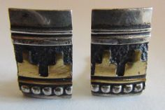 Native American Navajo Sterling Silver and 12K Jewelers Gold Clip Earrings Thomas Singer