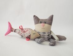 Lucky Cat Cat with fish Rag Doll Handmade Cat for Cat