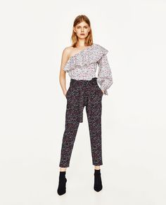 PRINTED TROUSERS WITH CONTRAST BELT-NEW IN-WOMAN | ZARA United States