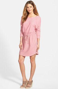 Caslon® Stripe Three-Quarter Sleeve Drawstring Waist Dress available at #Nordstrom
