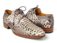 Paul Parkman Handmade Men's Natural Genuine Python Ghillie Lacing Dress Shoes