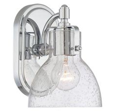 view the minka lavery 5721 1 light 85 height bathroom sconce with clear seeded shade - Bathroom Vanity Light Height