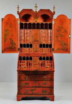George II period scarlet japanned bureau cabinet.