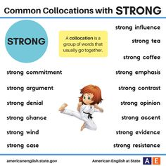 Collocations with Strong - learning GO English Talk, English Study, English Words, English Lessons, English Grammar, Learn English, Learn French, English Adjectives, English Vocabulary