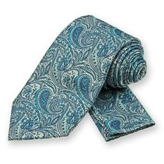 Turquoise Classic Paisley Tie and Pocket Square Set