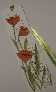 Deep Orange Watercolor Poppy Bookmark