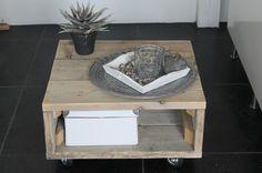 Salontafel steigerhout op wielen | Steigerhouten meubelen | Ideas Styling & Houttrendz