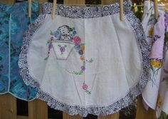 Pretty apron from vintage linens