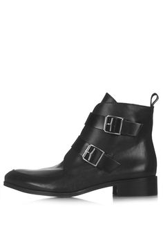 $140, Black Leather Ankle Boots With Strap And Buckle Fastening 100% Leather Specialist Clean Only by Topshop. Sold by Topshop. Click for more info: http://lookastic.com/women/shop_items/141762/redirect