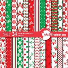80% OFF Christmas paper Traditional Christmas by AMBillustrations
