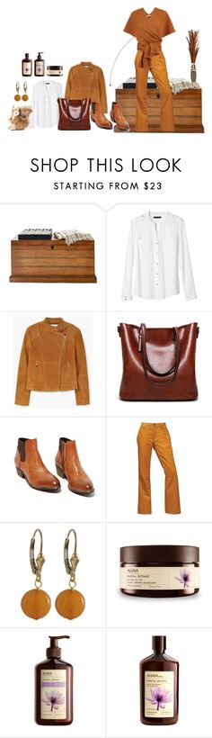 """""""Brown Thursday #1"""" by xanthik ❤ liked on Polyvore featuring Mark & Graham, Banana Republic, MANGO, Steve Madden, The North Face, Luxiro, Ahava and Pier 1 Imports"""