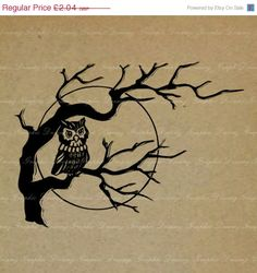 70% OFF SALE Owl in a Tree 556KM Digital Image by GraphicDreamz