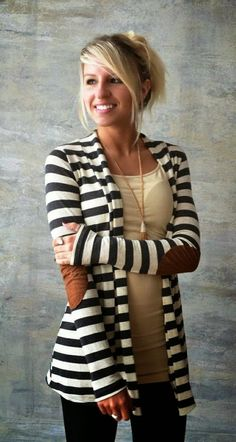 Stylish and Gorgeous Comfy Elbow Patch Stripes Cardigan for Ladies.. HotWomensClothes.com