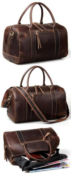 Vintage Handmade Antique Leather Travel Bag / Tote / Messenger Bag / Overnight Bag