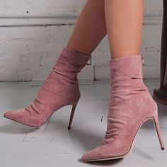 Pink Suede Stiletto Boots Pointed Toe Ankle Boots for Work, Party, Anniversary, Going out, Hanging out Stiletto Boots, High Heel Boots, Heeled Boots, Bootie Boots, Shoe Boots, High Heels, Rain Boots, Stilettos, Pumps Heels