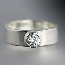 "Sterling Silver Artifact Ring with White Sapphire by Sarah Hood (Silver & Stone Ring) (1.3"" x 6"")"