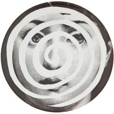 Fornasetti Plate ($132) ❤ liked on Polyvore featuring home, home decor, wall art, fornasetti, grey, grey plates, porcelain plates, black and white wall art and fornasetti plates
