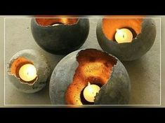 DIY Concrete Candle Holders – The Owner-Builder Network Dollar Tree Candle Holders, Tealight Candle Holders, Candle Stand, Concrete Candle Holders, Candles, Hairstyles, Diy Concrete, Craft Night, Advent