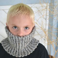 Eco Knit Kid Cowl Grey with Brown, Black , and Cream specks $25.00
