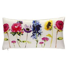 Bring the freshness of a spring time flower bed home with the beautiful Betty cushion by Bluebellgray. Colourful painterly flowers sit in a pretty row printed on a linen viscose mix front and backed w Floral Cushions, Scatter Cushions, Floral Rug, Throw Pillows, Decorative Cushions, Floral Prints, Bluebellgray, Luxury Sofa, Textiles