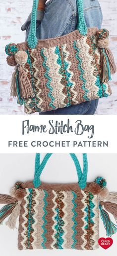 Flame Stitch Bag free crochet pattern in Red Heart Super Saver yarn. Bag Crochet, Crochet Purses, Crochet Crafts, Crochet Baby, Crochet Projects, Free Crochet, Hairpin Lace Crochet, Red Heart Yarn, Crochet Patterns