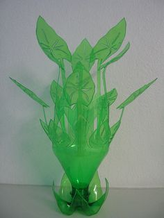 Wowza ..Plastic Bottle Sculpture paint white or black or varied on leaves..for earrings and bracelet display