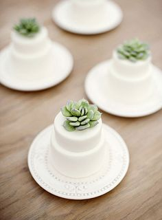 Replace traditional flowers with succulents for an unfussy wedding cake.