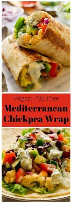 These vegan Mediterranean wraps feature smashed chickpeas, colourful veggies and a tangy herby tzatziki sauce. These fast and easy vegan wraps can be made ahead for a packed lunch or quick snack when you're on the go. via Melissa Copeland Veggie Recipes, Whole Food Recipes, Cooking Recipes, Healthy Recipes, Wrap Recipes, Healthy Wraps, Vegan Recipes For Lunch, Easy Vegitarian Recipes, Vegan Recipes For Beginners