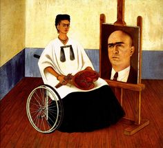1951 Frida Kahlo Autoportrait avec le portrait du Dr Farill, Self-portrait with the portrait of Dr. Farill, Huile sur masonite, 41,5x50 cm. #Art #Mexico #deFharo