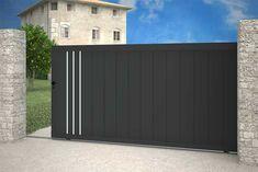Gate Wall Design, House Main Gates Design, Steel Gate Design, Front Gate Design, Garage Door Design, Roof Design, Garage Doors, Front Gates, Entrance Gates