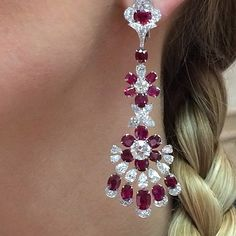 """Burma """"Pigeon Blood"""" #Ruby & #diamond chandelier earring SOLD"""