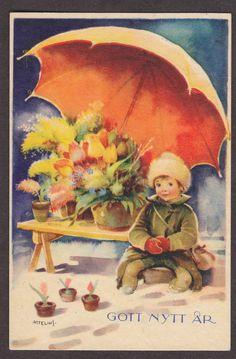 Swedish miniature postcard, Artelius, Flower seller in snow    http://www.ebay.com/itm/S4350-Swedish-miniature-postcard-Artelius-Flower-seller-in-snow-New-Year-/370609765539?pt=LH_DefaultDomain_0=item564a103ca3