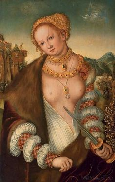 A painting of Lucretzia, artist unknown (after Lucas Cranach the Elder) The opening in the chemise is interesting.