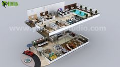 Conceptual Multistory Hotel Floorplan by Yantram 3D Interior Floor Plans Company. Conceptual Multi-storey Hotel Floorplan by Yantram 3D Interior Floor Plans Company. #3D Floor Plan contains #Vegas style #furniture with  #reception #waiting area #bar #restaurant #server room #security room # conference room #Pool #Bedrooms.