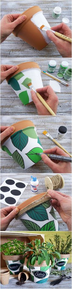 Painted flower pots, painted pots, crafts to do, diy projects to try, craft g Diy Home Crafts, Diy Arts And Crafts, Fun Crafts, Crafts For Kids, Kids Diy, Decor Crafts, Painted Plant Pots, Painted Flower Pots, Diy Para A Casa