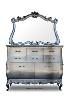 Angelique Chest of Drawers & Mirror - Silver