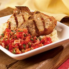 Grilled Veal Chops with Prosciutto Tomato Sauce