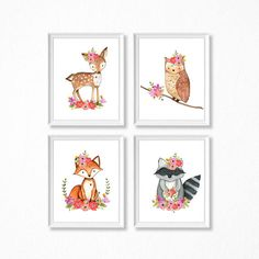 Girl Woodland Nursery Print Set. Floral Woodland Nursery