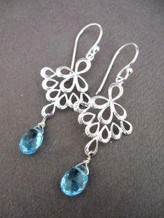 Blue Topaz Chandelier Earrings - $19 - bluetulipdesigns on etsy.com