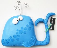 WhaLe named WaLdeN ... WhimsicaL WaLL ArT ... ocean blue polka dots ... OOAK ... teamposhnursery