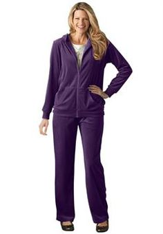Plus Size Hoodie & pants set in soft, colorful velour