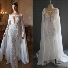 Retro Arabic Mermaid Lace Bridal Dresses With Cloak Vintage Wedding Dress Beads Luxury Pearl Long Sleeves Wedding Gowns -in Wedding Dresses from Weddings & Events on Aliexpress.com   Alibaba Group