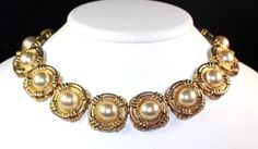 Vintage Couture Glass Pearl Cabochon Gold Plated Articulated Choker Necklace
