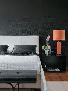 20 Black Bedroom Design Ideas To Copy Black Bedroom Design, Bedroom Wall Designs, Master Bedroom Design, Bedroom Decor, Bedroom Black, Bedroom Ideas, Master Bedrooms, Bachelor Bedroom, Black Feature Wall