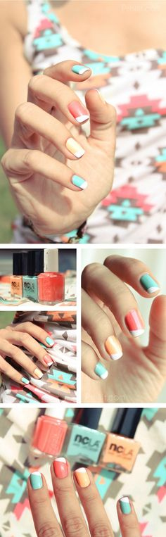 Pretty colorful manicure #PANDORAloves | See more at http://www.nailsss.com/colorful-nail-designs/2/