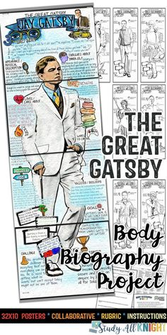THE GREAT GATSBY Body Biography Project Bundle, Great For Characterization The Great Gatsby Body Biography Bundle is filled with all you need to teach and promote the characters from the timeless novel. Your student High School Literature, Teaching Literature, English Literature, Teaching History, High School Classroom, English Classroom, Classroom Ideas, Ap Language, English Language
