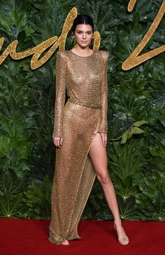 All The Best Looks At The British Fashion Awards, 2018 Kendall Jenner Sparkles in Julien MacDonald. Sexy Dresses, Revealing Dresses, Nice Dresses, High Slit Dress, Sheer Dress, Gold Dress, Fashion Mode, Fashion Show, Celebrity Outfits