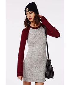 Dalili Contrast Sleeve Jumper Dress Grey/ Oxblood - Dresses - Jumper Dresses - Missguided