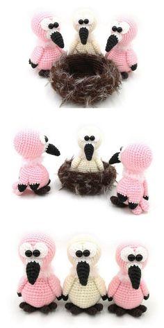 Amigurumi Flamingo Free Pattern - Amigurumi Daily Crochet Flamingo, Crochet Elephant Pattern, Crochet Patterns Amigurumi, Knit Patterns, Free Crochet, Crochet Ideas, Crochet Animals, Handicraft, Free Pattern